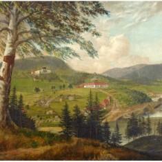 Ulefos Hovedgaard, hvor All-arkivet befinner seg. Bildet er trolig malt av Ferdinand Gjøs omkring 1830. Foto: Tom Ris